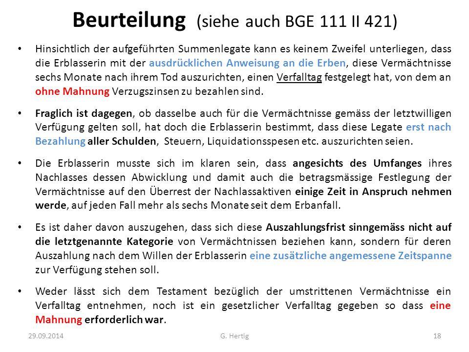 Beurteilung (siehe auch BGE 111 II 421)