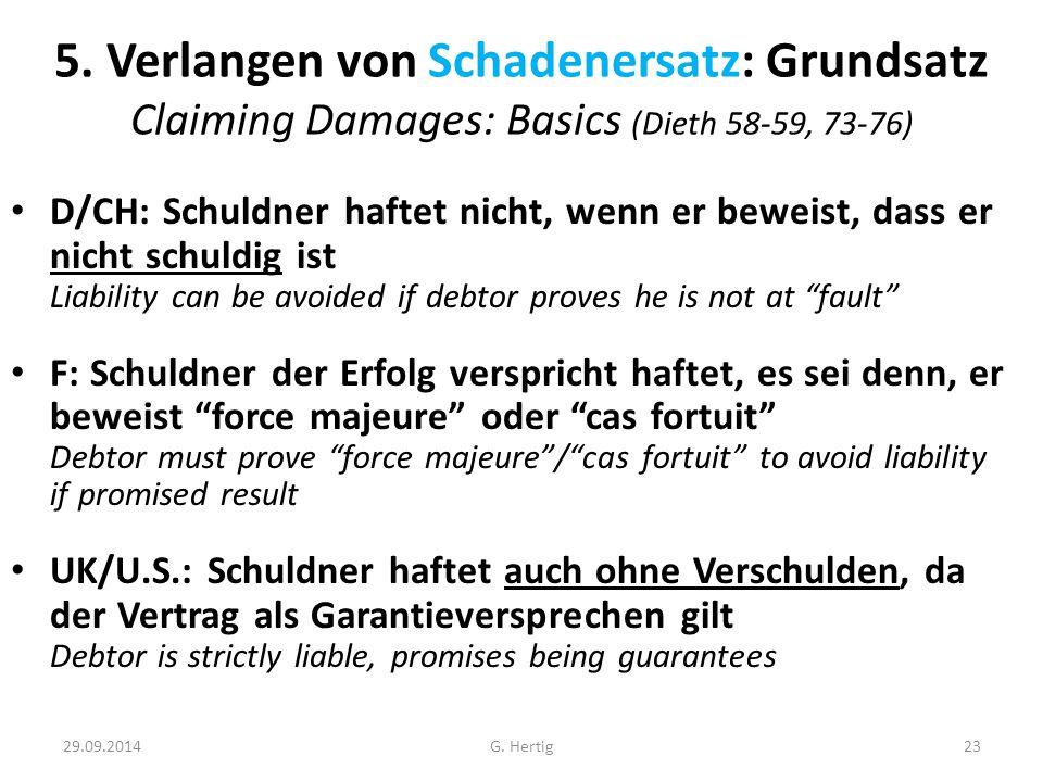 5. Verlangen von Schadenersatz: Grundsatz Claiming Damages: Basics (Dieth 58-59, 73-76)