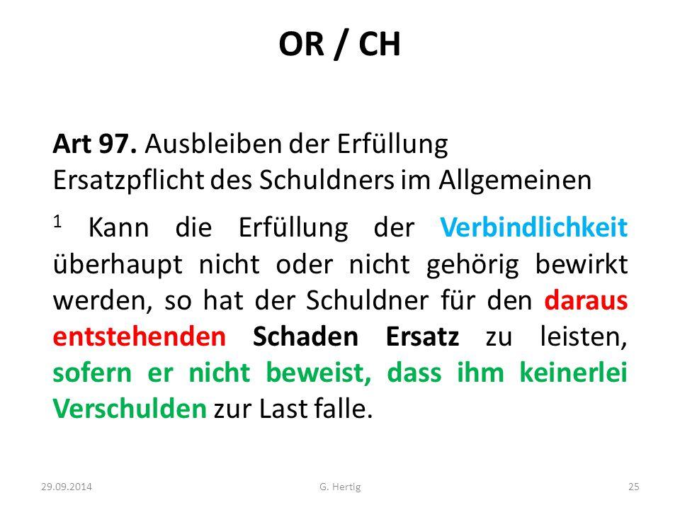 OR / CH Art 97. Ausbleiben der Erfüllung