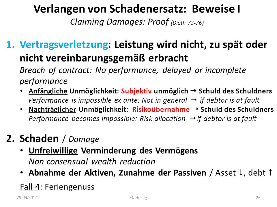 Verlangen von Schadenersatz: Beweise I Claiming Damages: Proof (Dieth 73-76)
