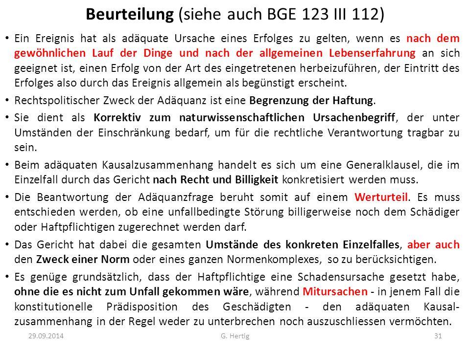 Beurteilung (siehe auch BGE 123 III 112)