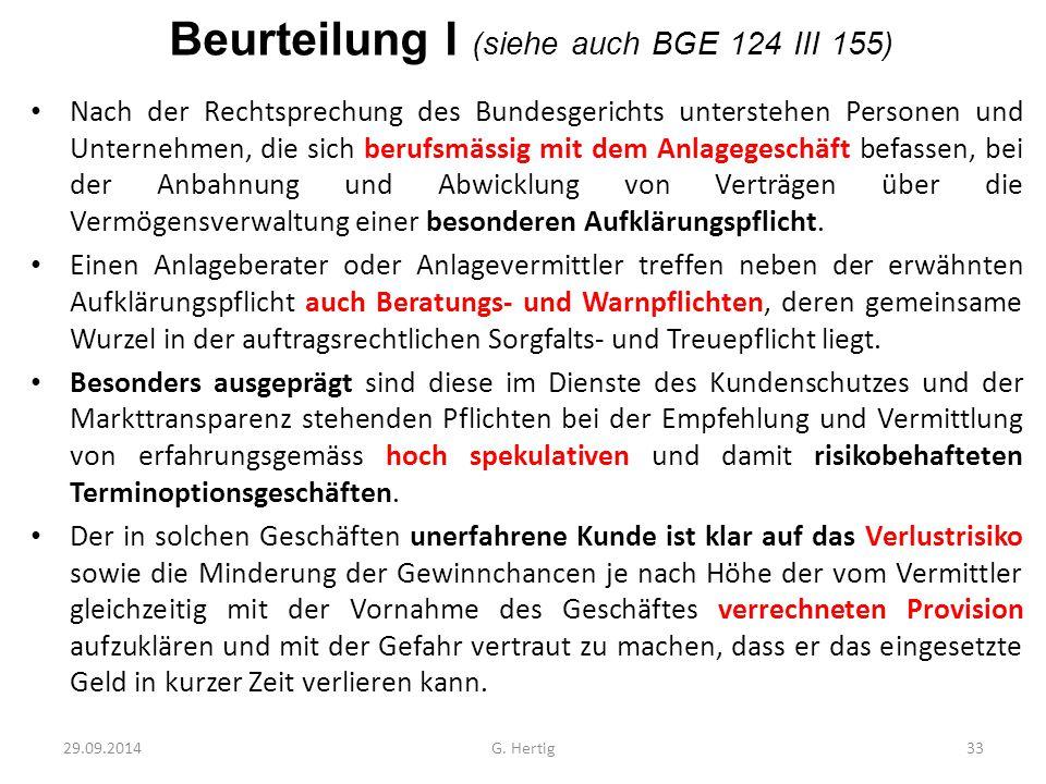 Beurteilung I (siehe auch BGE 124 III 155)