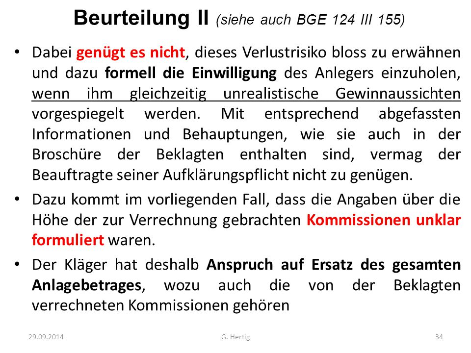 Beurteilung II (siehe auch BGE 124 III 155)