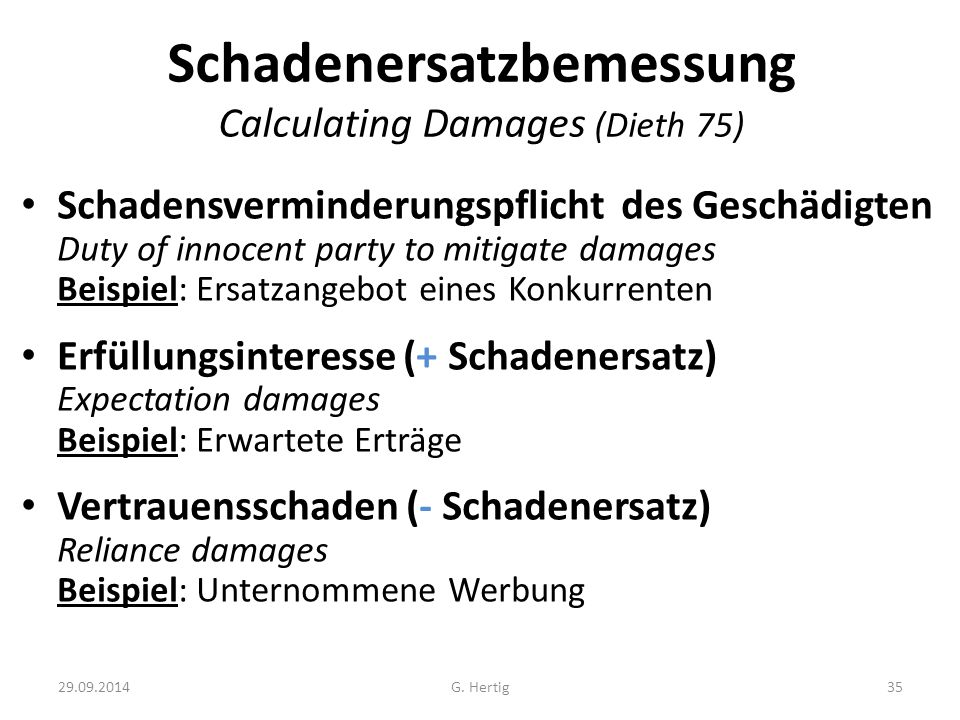 Schadenersatzbemessung Calculating Damages (Dieth 75)