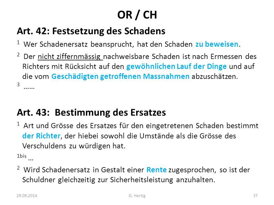 OR / CH Art. 42: Festsetzung des Schadens