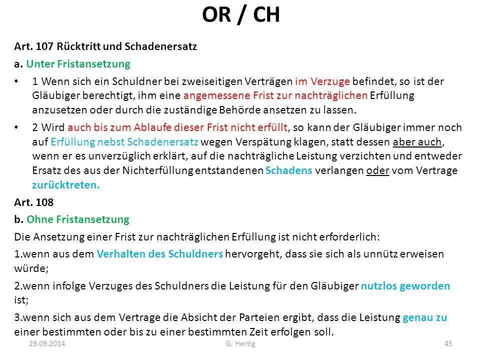 OR / CH Art. 107 Rücktritt und Schadenersatz a. Unter Fristansetzung