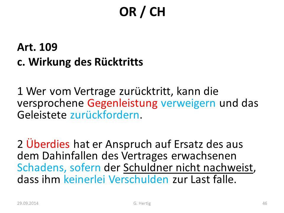 OR / CH Art. 109 c. Wirkung des Rücktritts