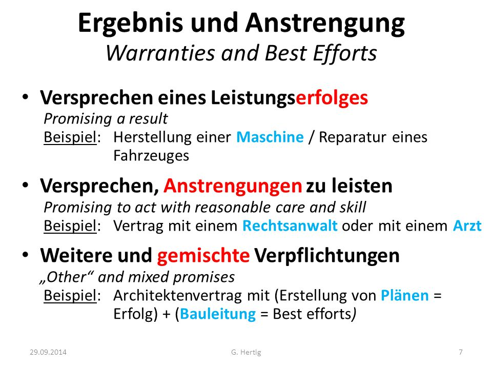 Ergebnis und Anstrengung Warranties and Best Efforts