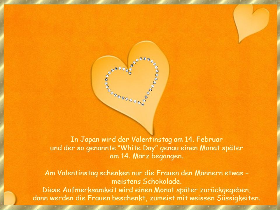 In Japan wird der Valentinstag am 14. Februar