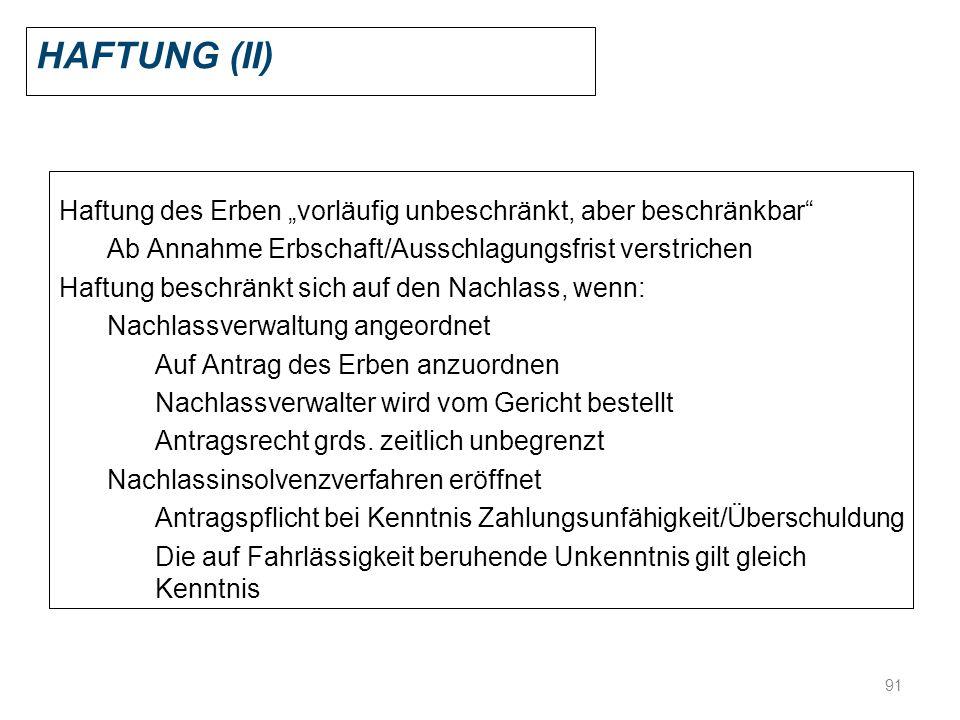 """Haftung (II) Haftung des Erben """"vorläufig unbeschränkt, aber beschränkbar Ab Annahme Erbschaft/Ausschlagungsfrist verstrichen."""