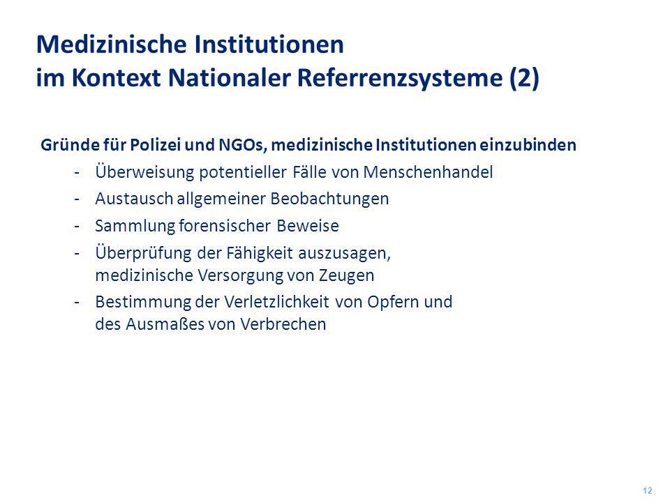 Medizinische Institutionen im Kontext Nationaler Referrenzsysteme (2)