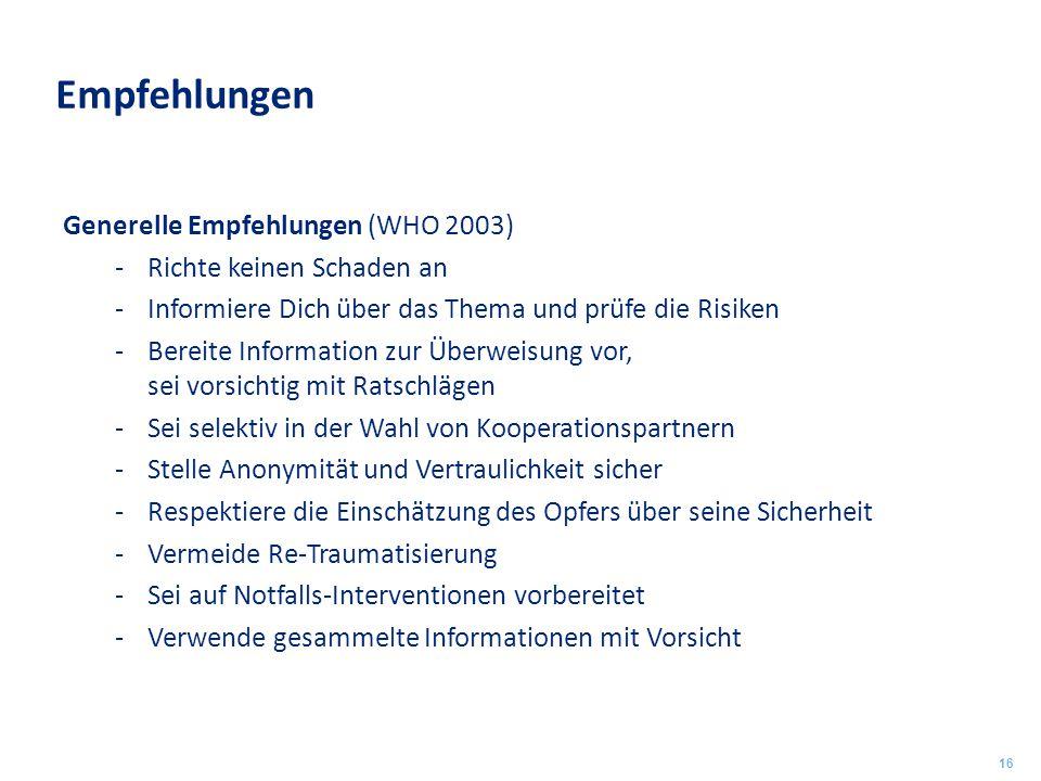 Empfehlungen Generelle Empfehlungen (WHO 2003)