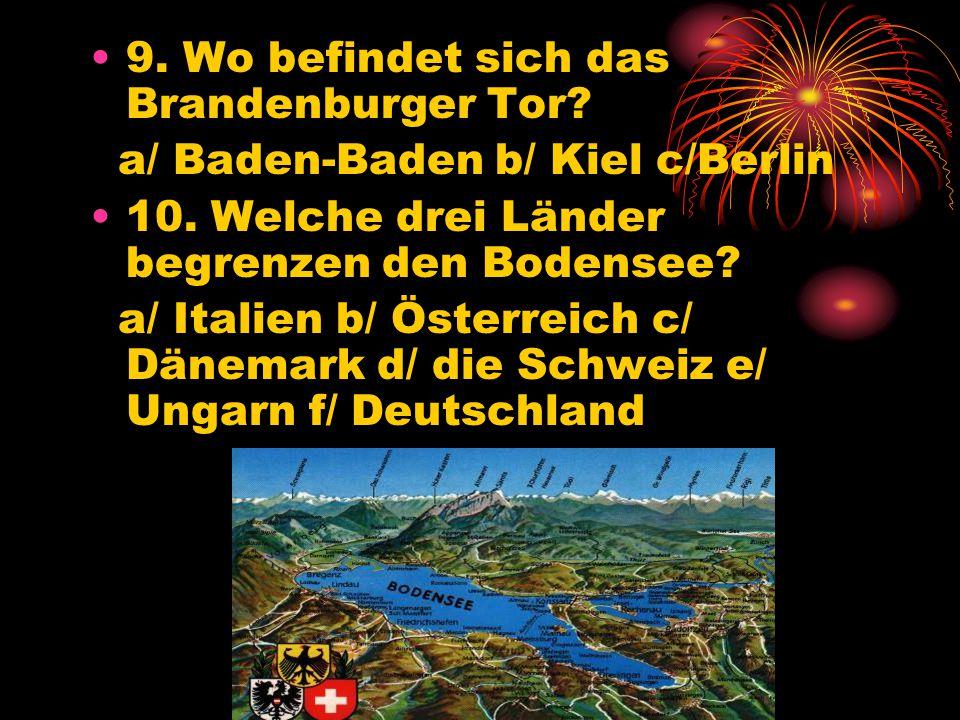 9. Wo befindet sich das Brandenburger Tor