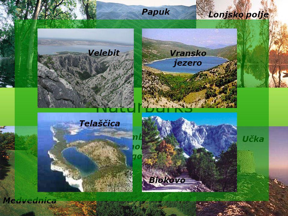 Naturparks Papuk Lonjsko polje Velebit Vransko jezero Kopački rit