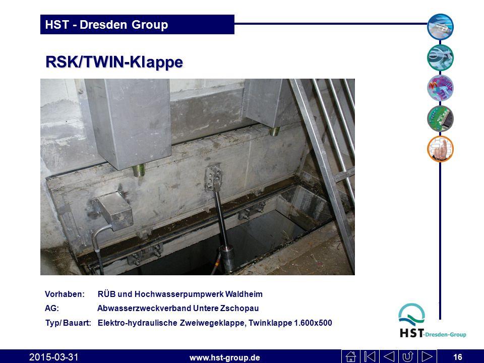 RSK/TWIN-Klappe Vorhaben: RÜB und Hochwasserpumpwerk Waldheim. AG: Abwasserzweckverband Untere Zschopau.