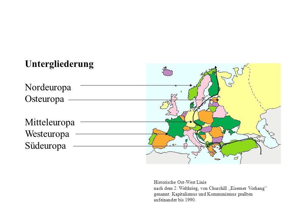 Untergliederung Nordeuropa Osteuropa Mitteleuropa Westeuropa Südeuropa