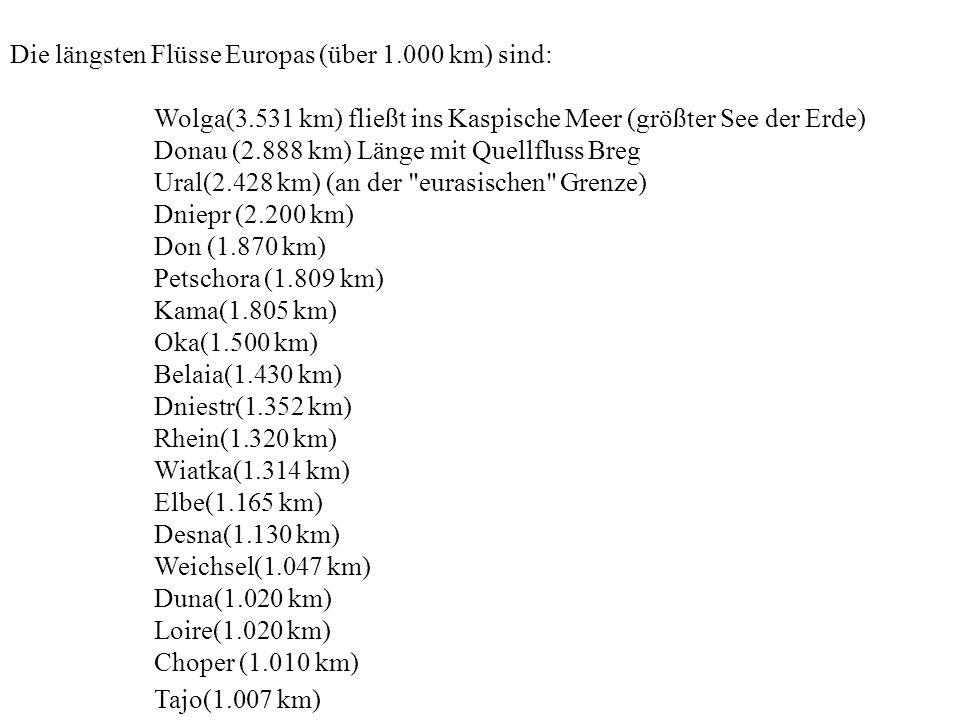Die längsten Flüsse Europas (über 1.000 km) sind: