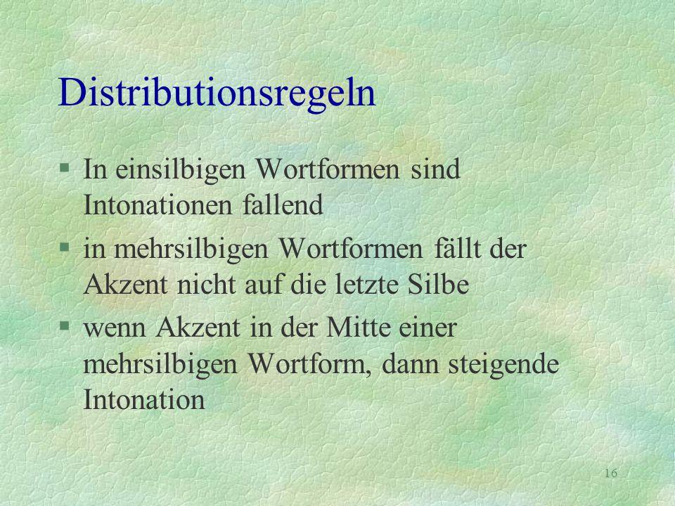 Distributionsregeln In einsilbigen Wortformen sind Intonationen fallend. in mehrsilbigen Wortformen fällt der Akzent nicht auf die letzte Silbe.