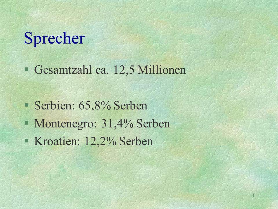 Sprecher Gesamtzahl ca. 12,5 Millionen Serbien: 65,8% Serben