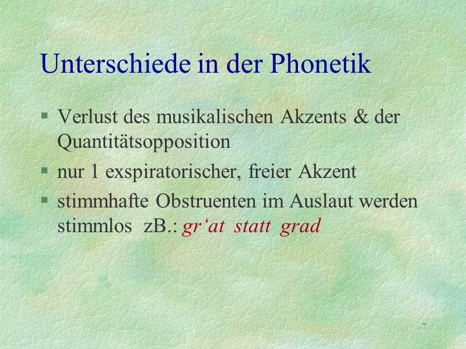 Unterschiede in der Phonetik