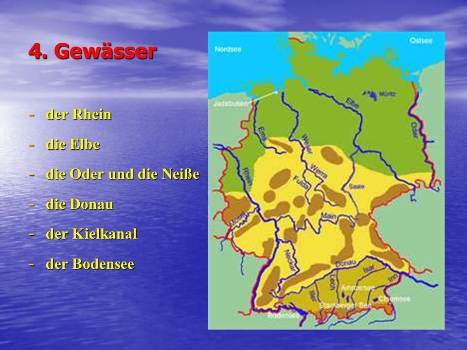 4. Gewässer der Rhein die Elbe die Oder und die Neiße die Donau