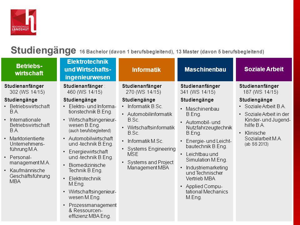 Hochschule Landshut Mittelgroße Hochschule (5.418 Studierende) - Persönlicher Kontakt zwischen Lehrenden und Studierenden.