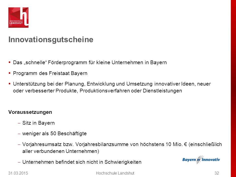 Innovationsgutscheine – 2 Varianten