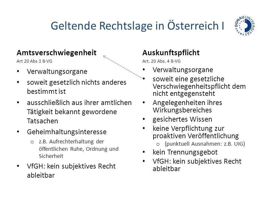 Geltende Rechtslage in Österreich I