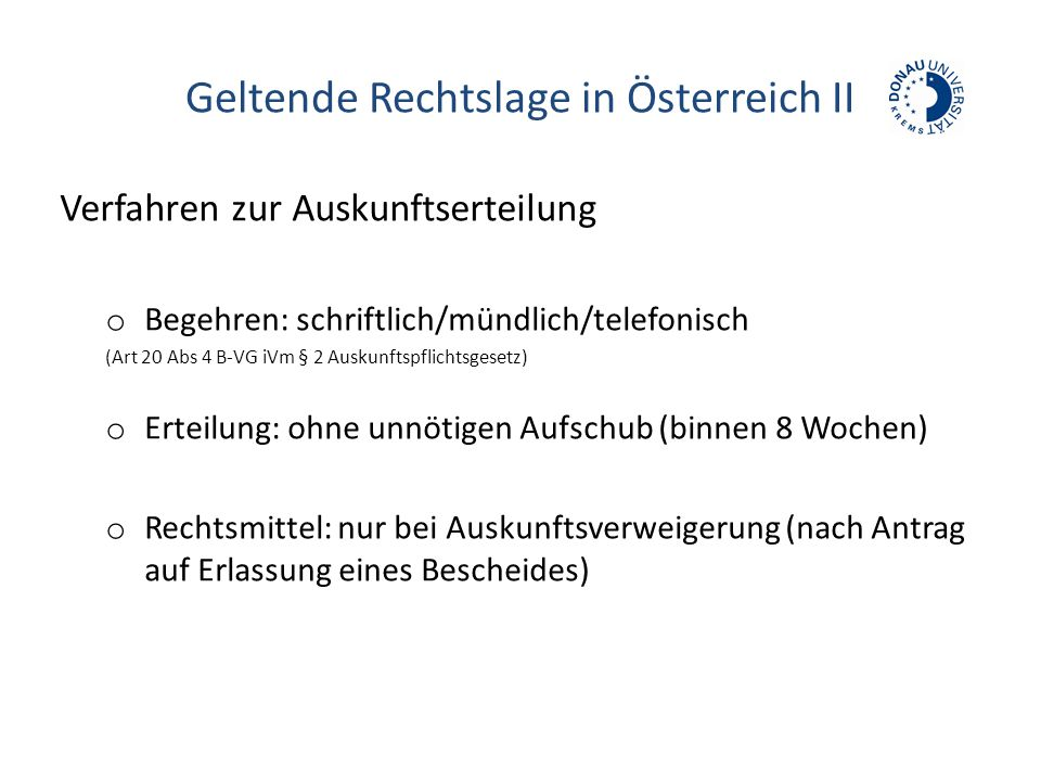 Geltende Rechtslage in Österreich II