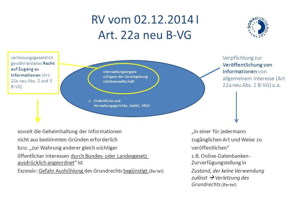 RV vom 02.12.2014 I Art. 22a neu B-VG