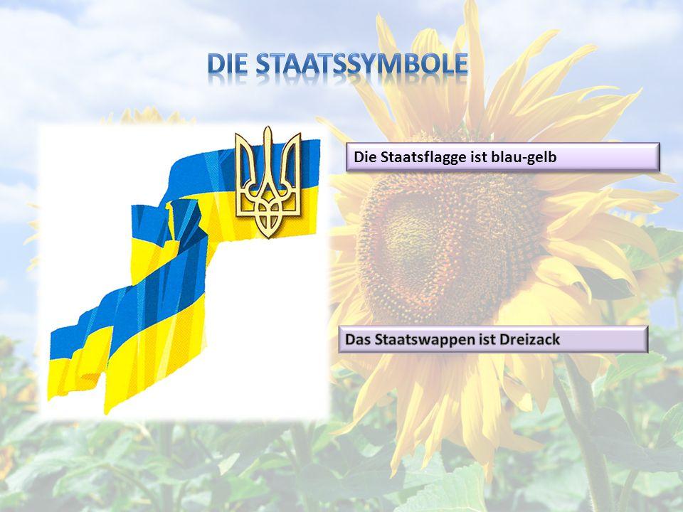 Die Staatssymbole Die Staatsflagge ist blau-gelb