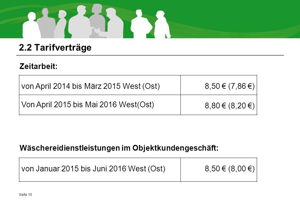 2.2 Tarifverträge Zeitarbeit: Wäschereidienstleistungen im Objektkundengeschäft: von April 2014 bis März 2015 West (Ost)