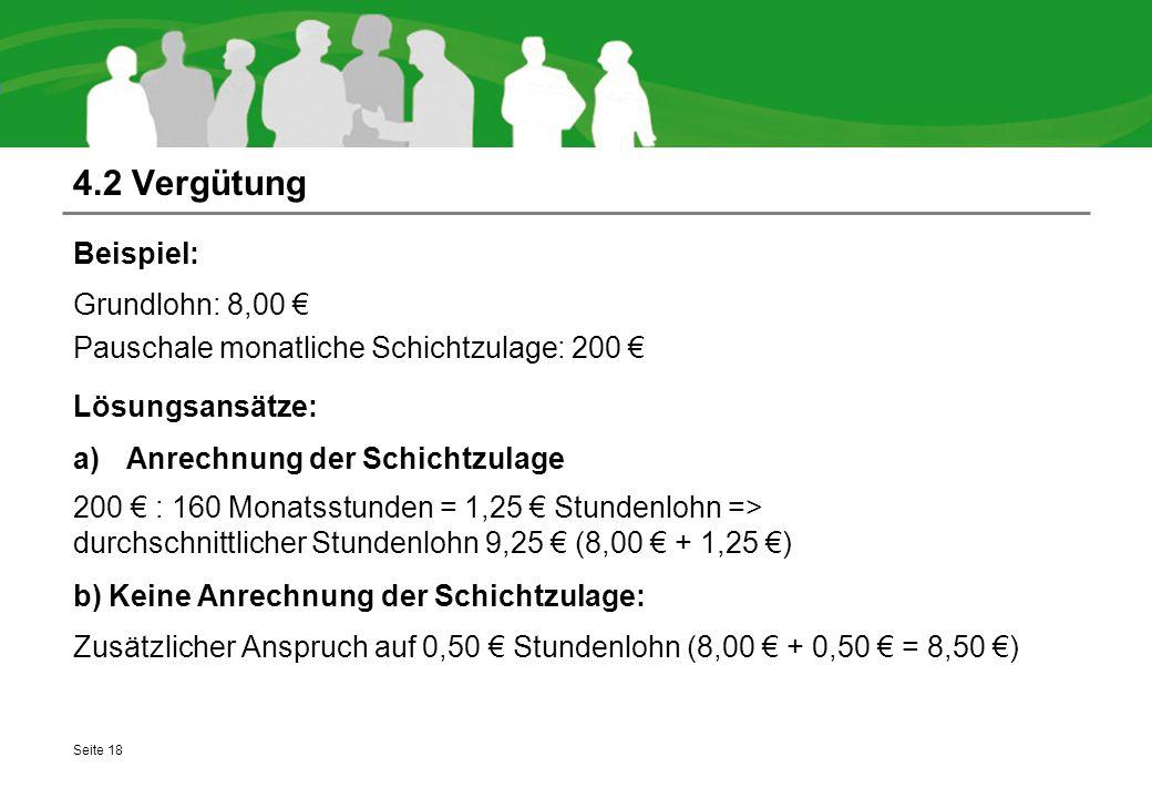 4.2 Vergütung Beispiel: Grundlohn: 8,00 €