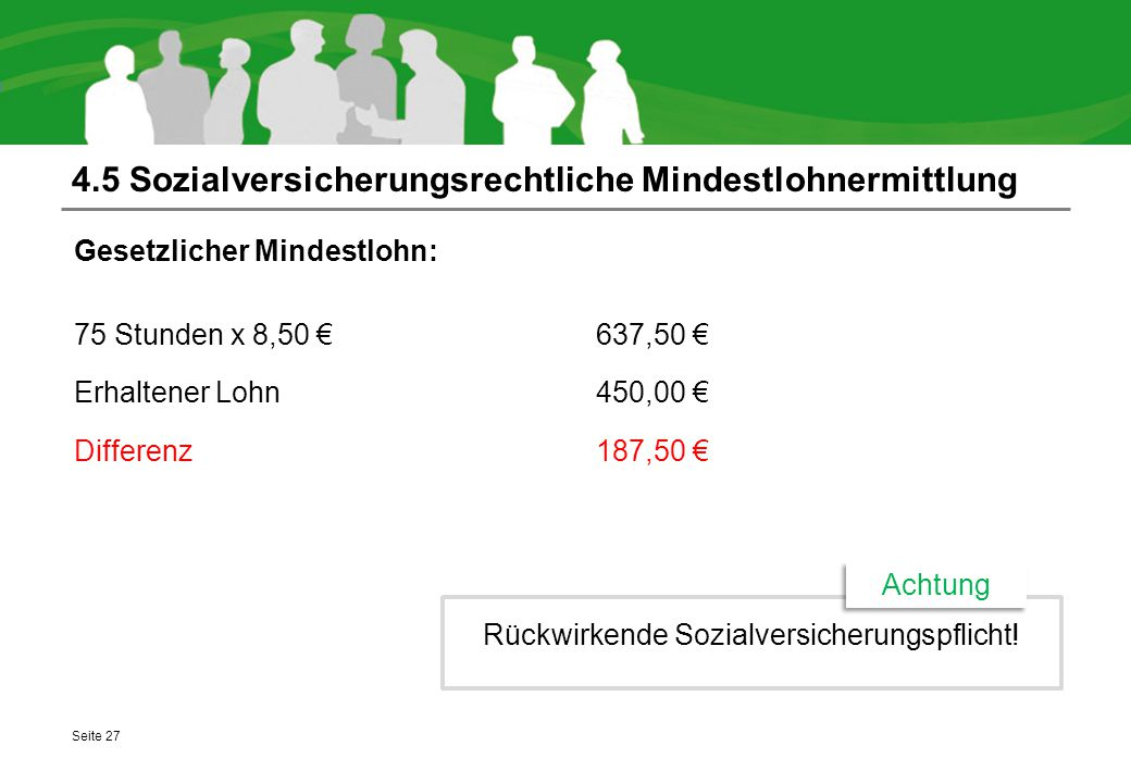 4.5 Sozialversicherungsrechtliche Mindestlohnermittlung