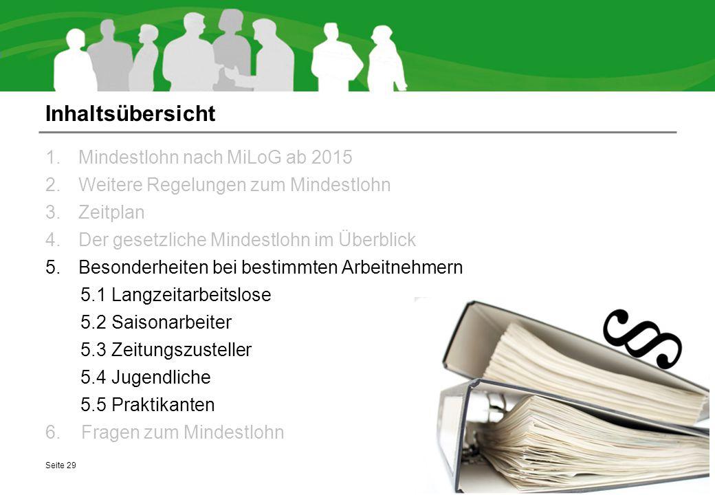 Inhaltsübersicht Mindestlohn nach MiLoG ab 2015