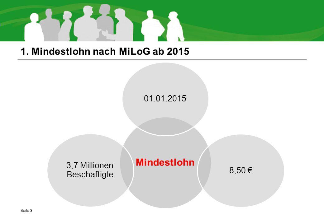 1. Mindestlohn nach MiLoG ab 2015