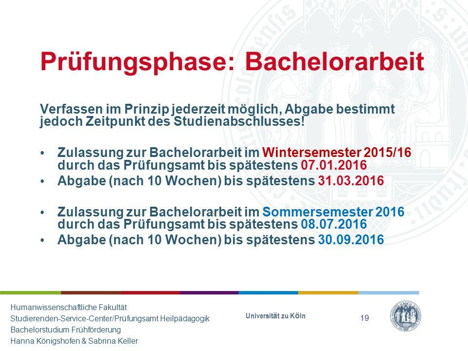 Prüfungsphase: Bachelorarbeit