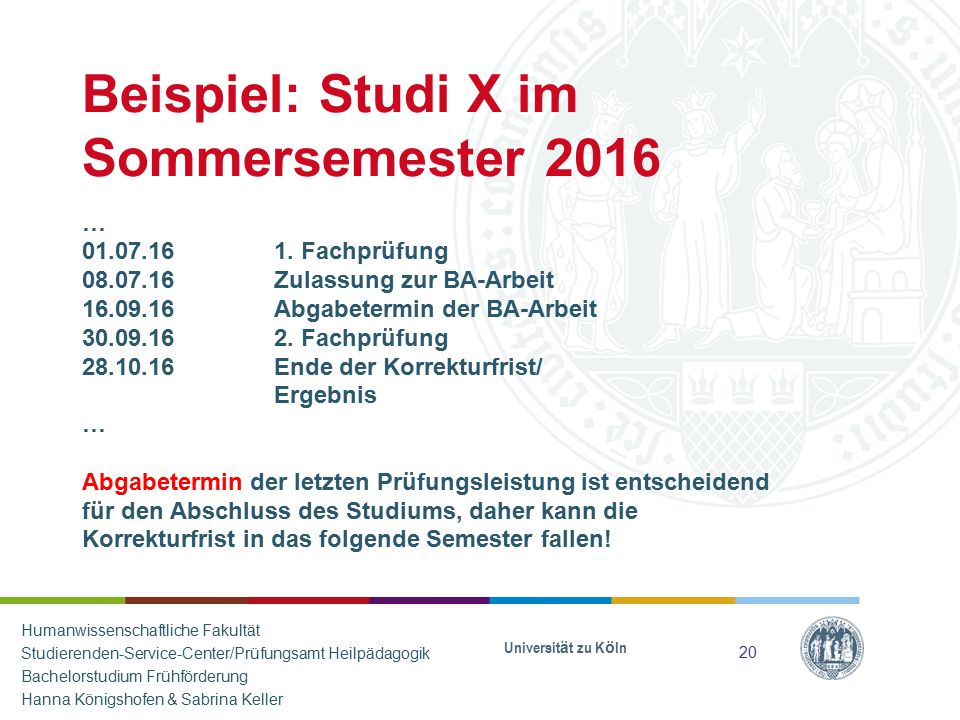 Beispiel: Studi X im Sommersemester 2016