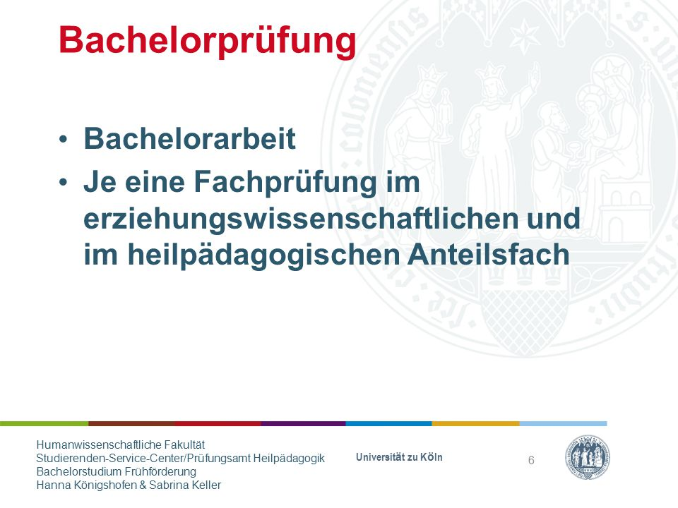 Bachelorprüfung Bachelorarbeit