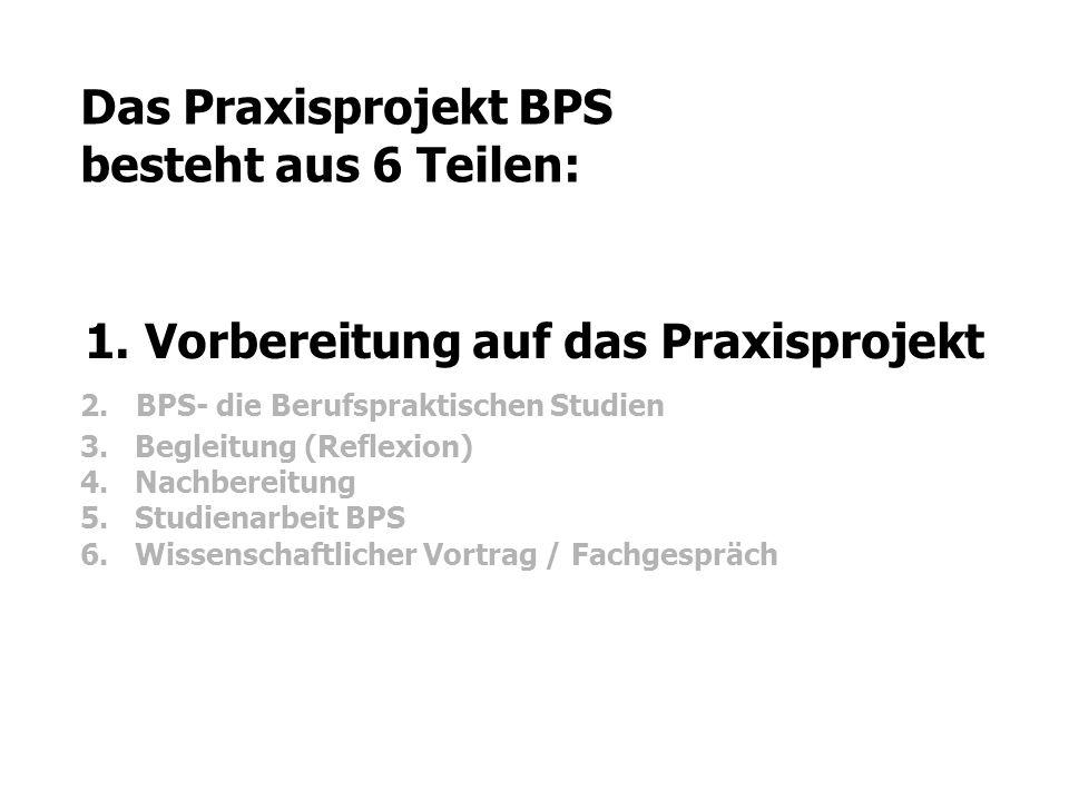 Das Praxisprojekt BPS besteht aus 6 Teilen: