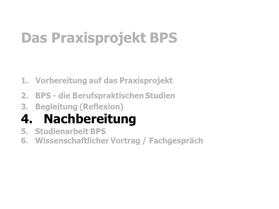 Das Praxisprojekt BPS 4. Nachbereitung