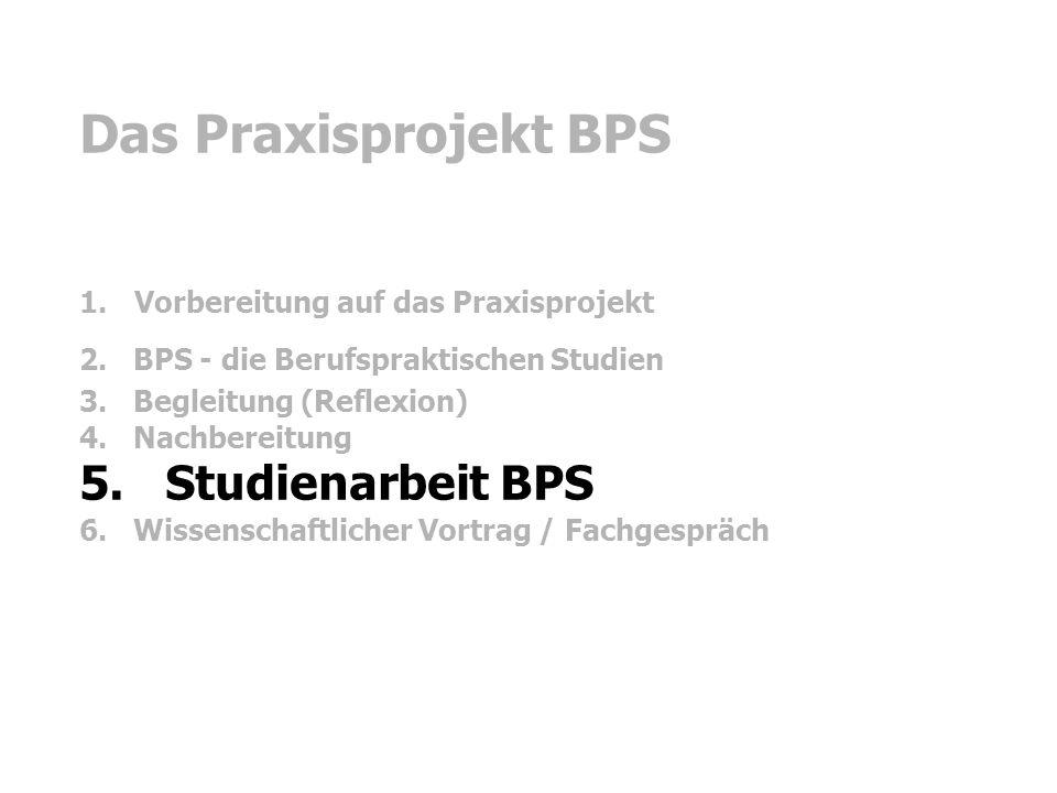 Das Praxisprojekt BPS 5. Studienarbeit BPS
