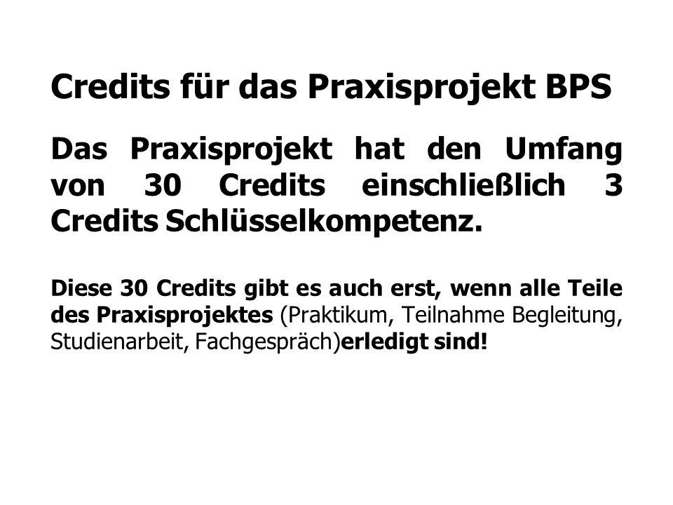 Credits für das Praxisprojekt BPS