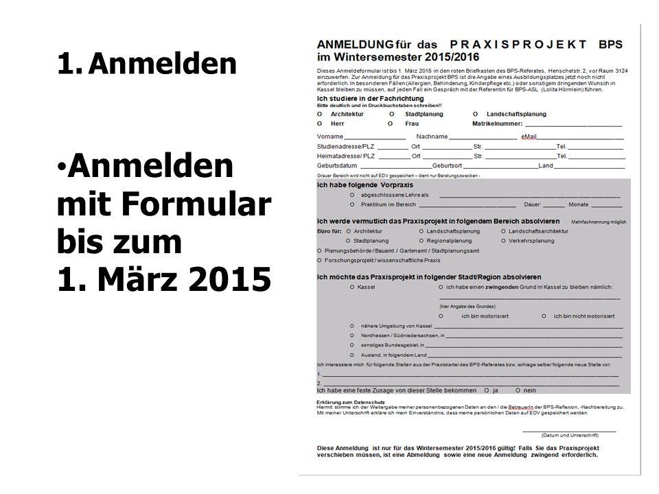 Anmelden mit Formular bis zum 1. März 2015