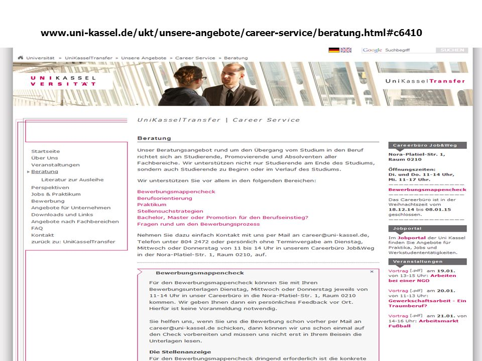 www. uni-kassel. de/ukt/unsere-angebote/career-service/beratung