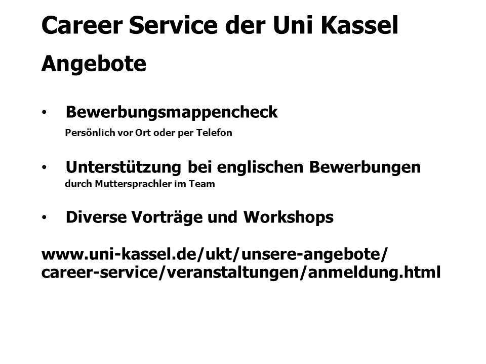 Career Service der Uni Kassel Angebote