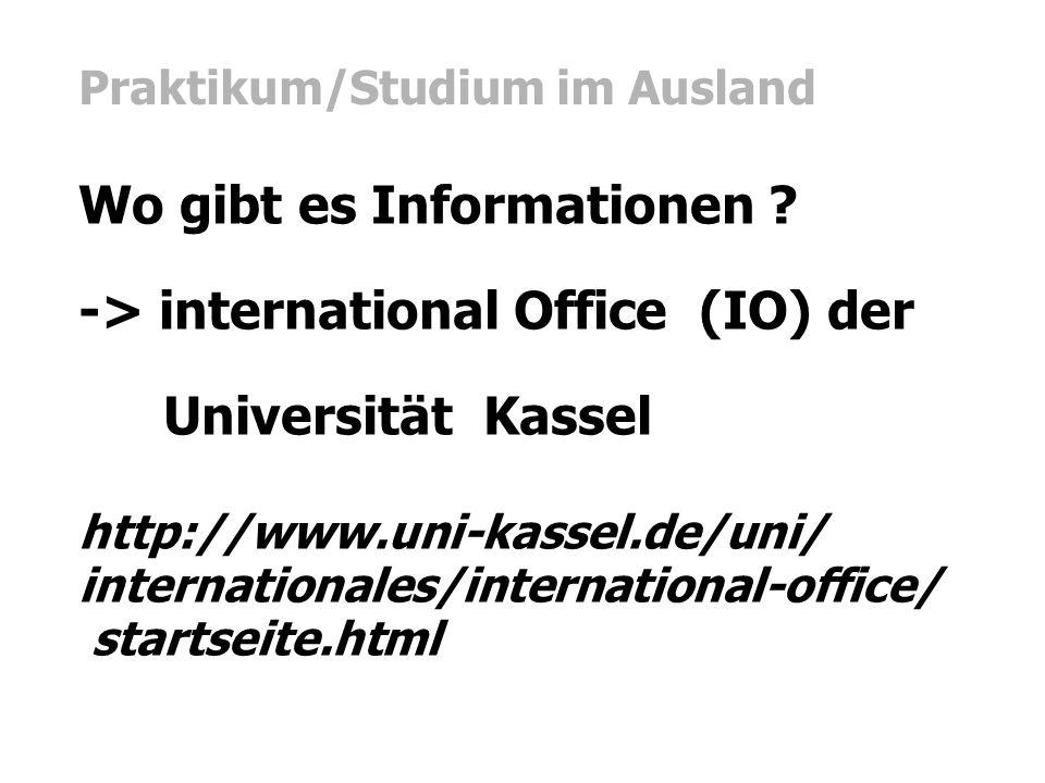 Praktikum/Studium im Ausland