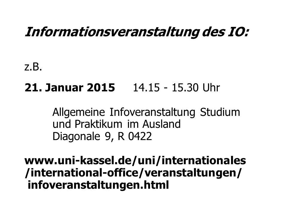 Informationsveranstaltung des IO: