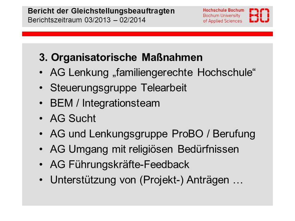 """3. Organisatorische Maßnahmen AG Lenkung """"familiengerechte Hochschule"""