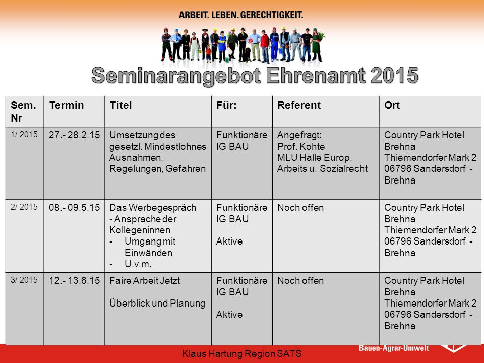 Seminarangebot Ehrenamt 2015